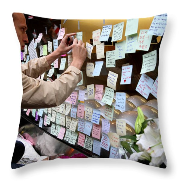 RIP Steve Jobs . October 5 2011 . San Francisco Apple Store Memorial 7DIMG8576 Throw Pillow by Wingsdomain Art and Photography