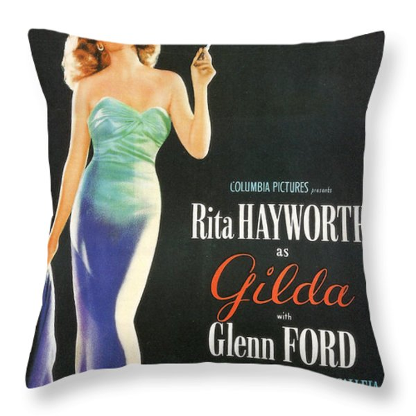 Rita Hayworth as Gilda Throw Pillow by Nomad Art And  Design