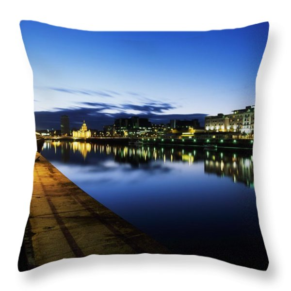 River Liffey, Sunset, View Of Customs Throw Pillow by The Irish Image Collection