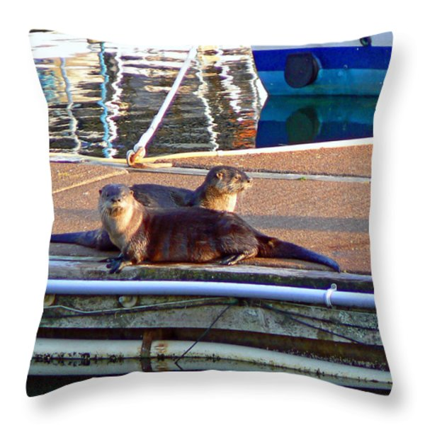 River Otters at the Harbor Throw Pillow by Pamela Patch