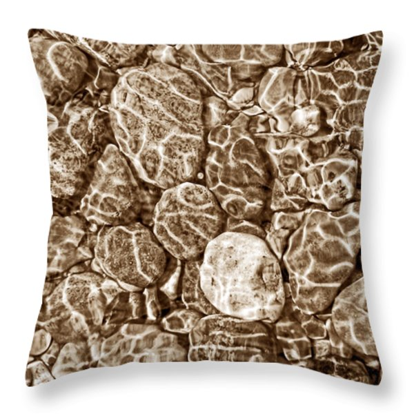 River Rocks In Stream Bed Sepia Throw Pillow by Jennie Marie Schell