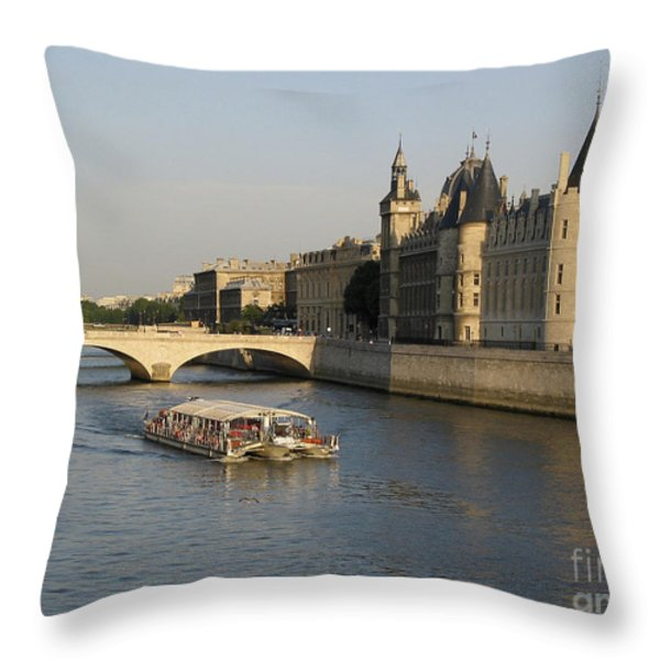 River Seine and Conciergerie. Paris Throw Pillow by BERNARD JAUBERT