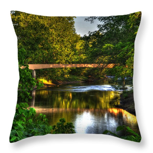 River Walk Bridge Throw Pillow by Greg and Chrystal Mimbs