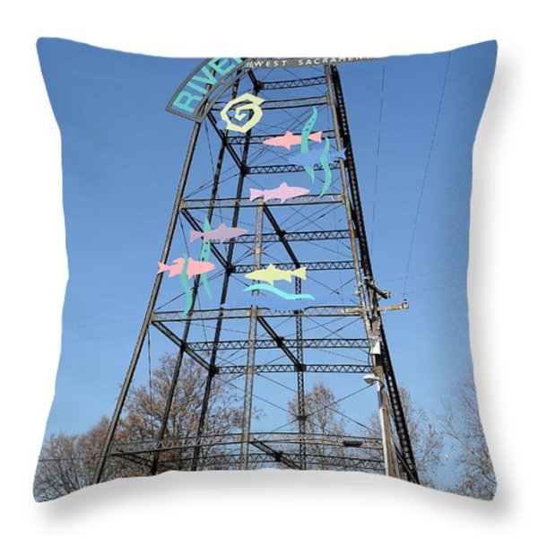 River Walk Tower Sign in West Sacramento California . 7D11400 Throw Pillow by Wingsdomain Art and Photography