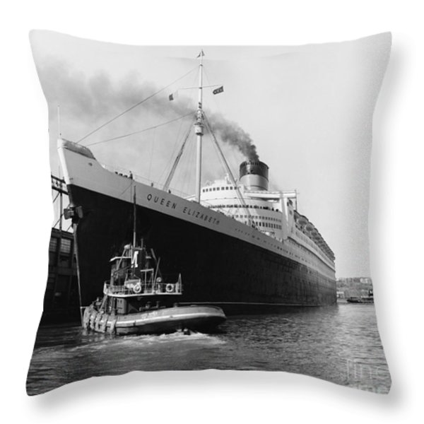 Rms Queen Elizabeth Throw Pillow by Dick Hanley and Photo Researchers