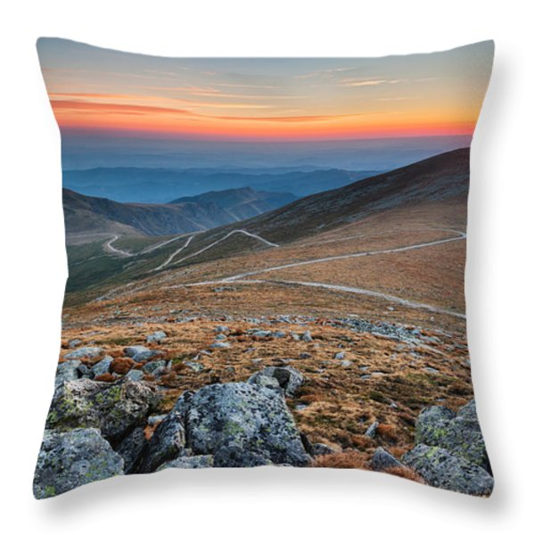 Road To Sunrise Throw Pillow by Evgeni Dinev