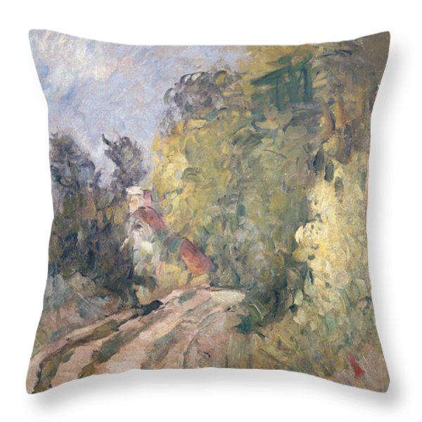 Road Turning Under Trees Throw Pillow by Paul Cezanne