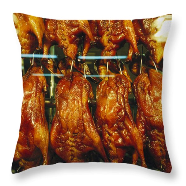 Roasted Ducks And Chickens Throw Pillow by Justin Guariglia