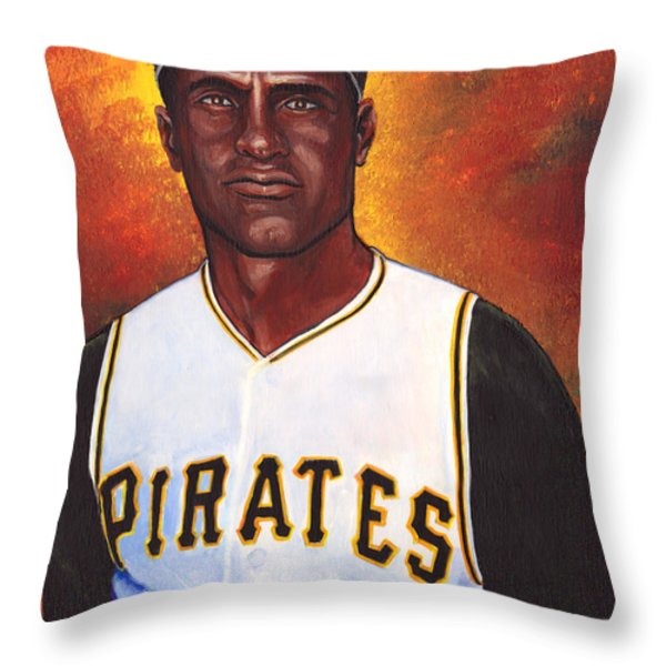 Roberto Clemente Throw Pillow by Steve Benton