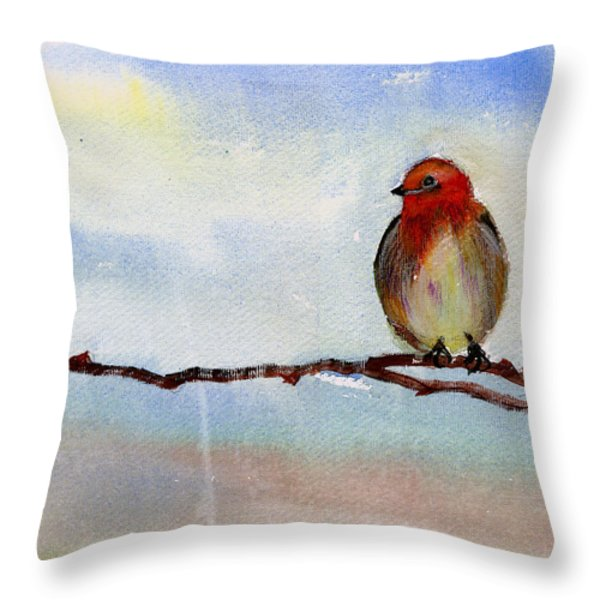 Robin 1 Throw Pillow by Anil Nene