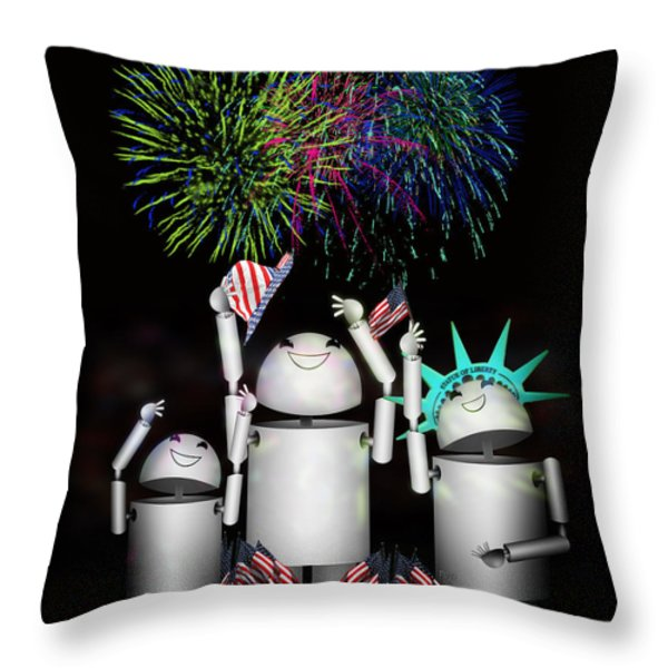 Robo-x9 and Family Celebrate Freedom Throw Pillow by Gravityx Designs
