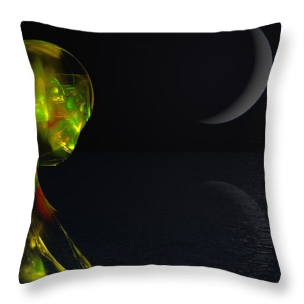 Robot Moonlight Serenade Throw Pillow by David Lane