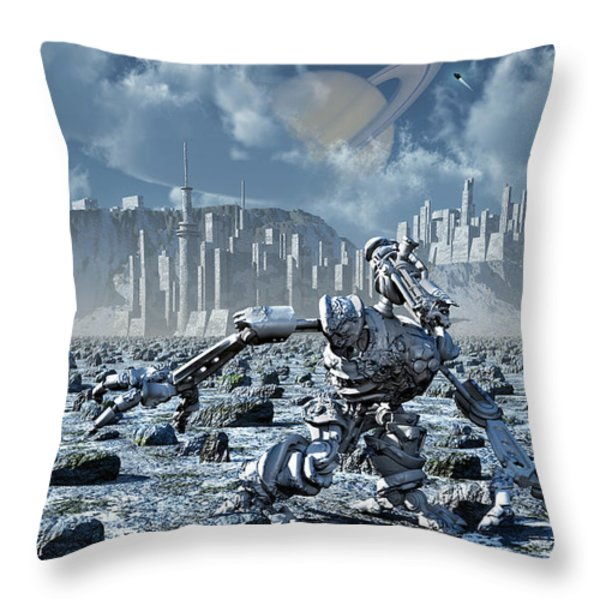 Robots Gathering Rich Mineral Deposits Throw Pillow by Mark Stevenson