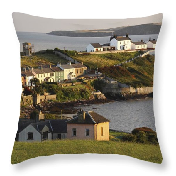 Roches Point Lighthouse In Cork Harbour Throw Pillow by Trish Punch