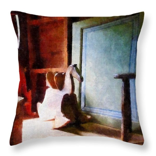 Rocking Horse In Attic Throw Pillow by Susan Savad