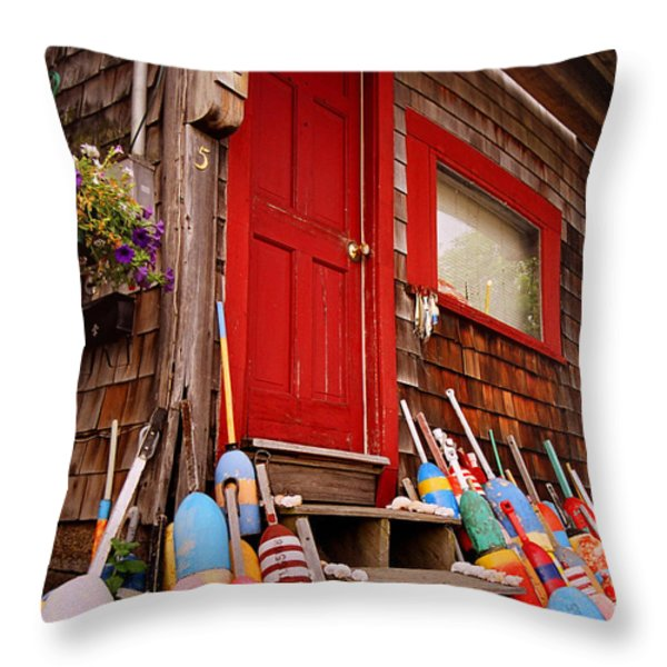 Rockport Buoys Throw Pillow by Joann Vitali