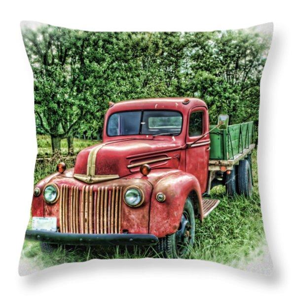 Rocks Old Truck Throw Pillow by Pamela Baker