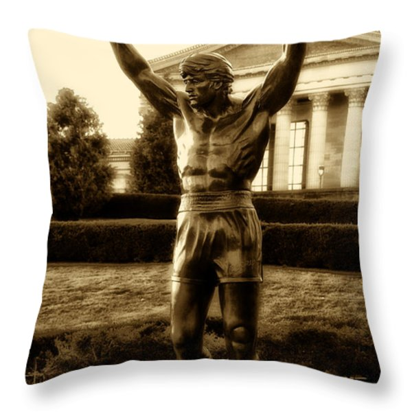 Rocky - Heart of a Champion  Throw Pillow by Bill Cannon