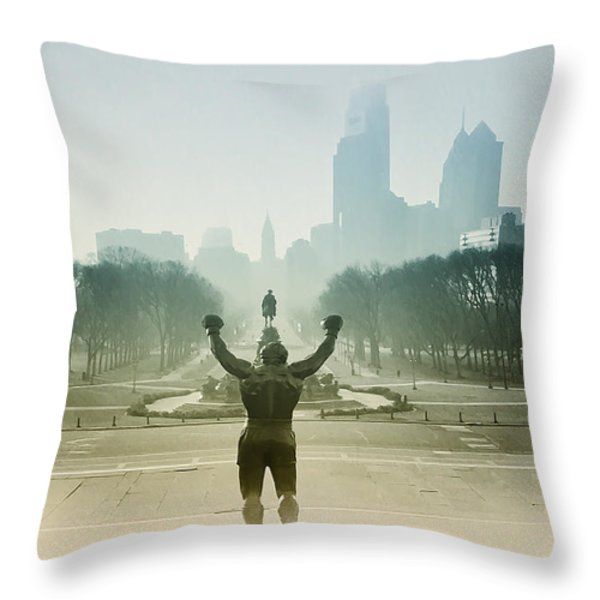 Rocky at the Top of the Steps Throw Pillow by Bill Cannon