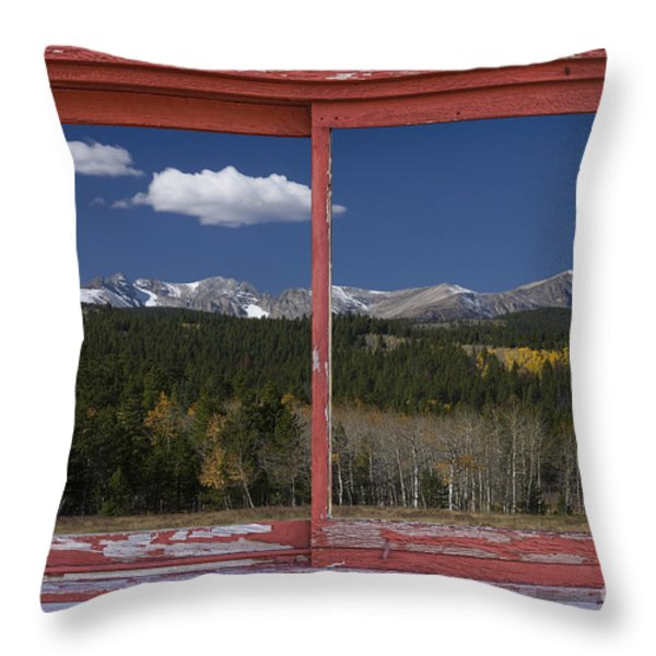 Rocky Mountain Autumn Red Rustic Picture Window Frame Photos Art Throw Pillow by James BO  Insogna