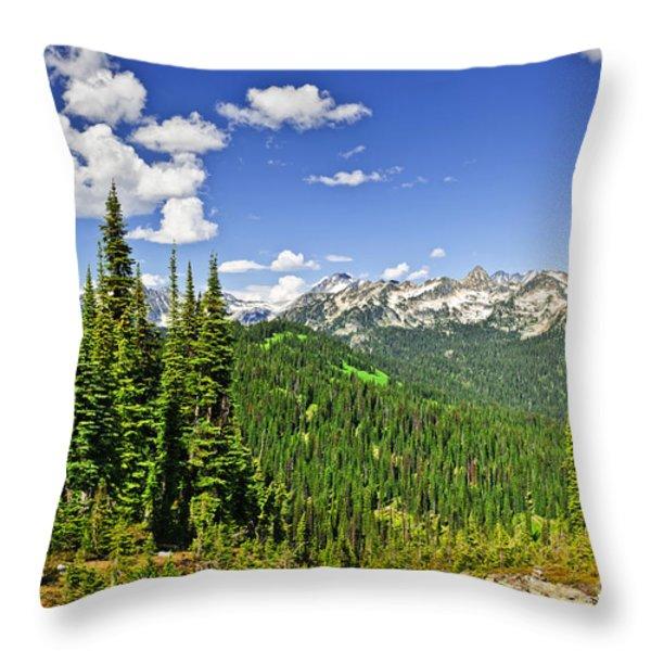 Rocky mountain view from Mount Revelstoke Throw Pillow by Elena Elisseeva