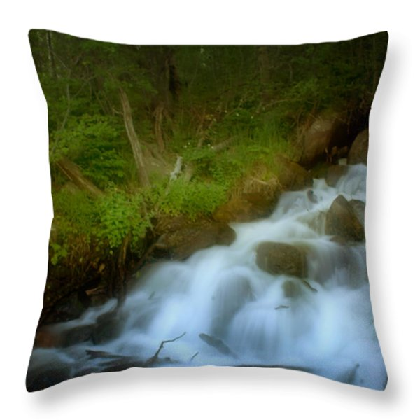 Rocky Mountain Waterfall Throw Pillow by Ellen Heaverlo
