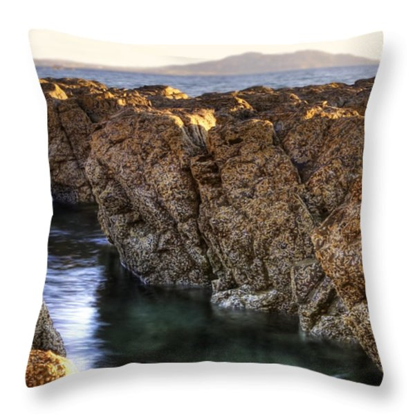 Rocky Seaside Throw Pillow by Svetlana Sewell