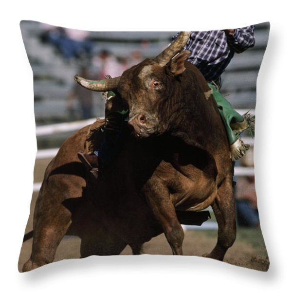 Rodeo Competitor In A Steer Riding Throw Pillow by Chris Johns