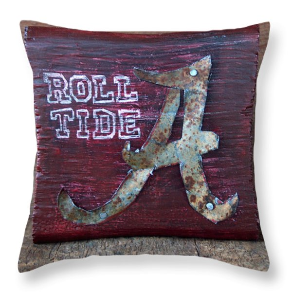 Roll Tide - Small Throw Pillow by Racquel Morgan