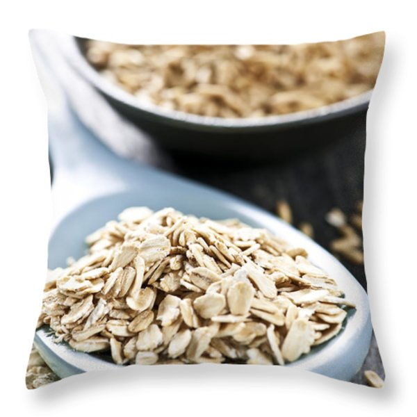 Rolled Oats And Oat Groats Throw Pillow by Elena Elisseeva
