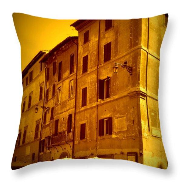 Roman Cafe With Golden Sepia 2 Throw Pillow by Carol Groenen