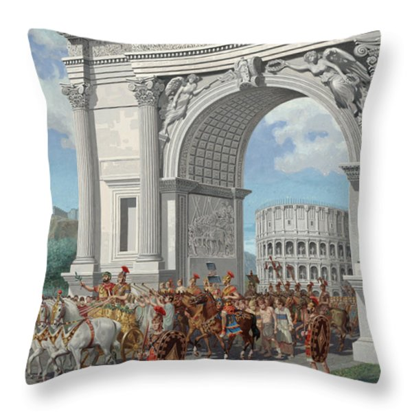 Roman Soldiers Lead Chained Captives Throw Pillow by H.M. Herget