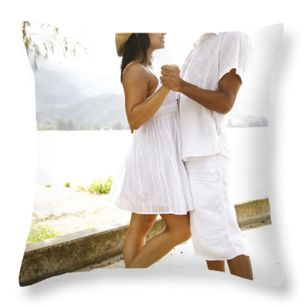 Romantic Couple in White Throw Pillow by Kicka Witte - Printscapes