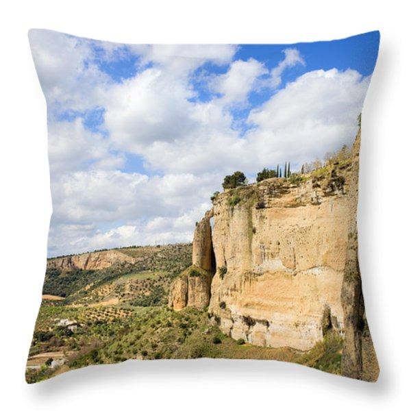 Ronda Cliffs in Andalusia Throw Pillow by Artur Bogacki