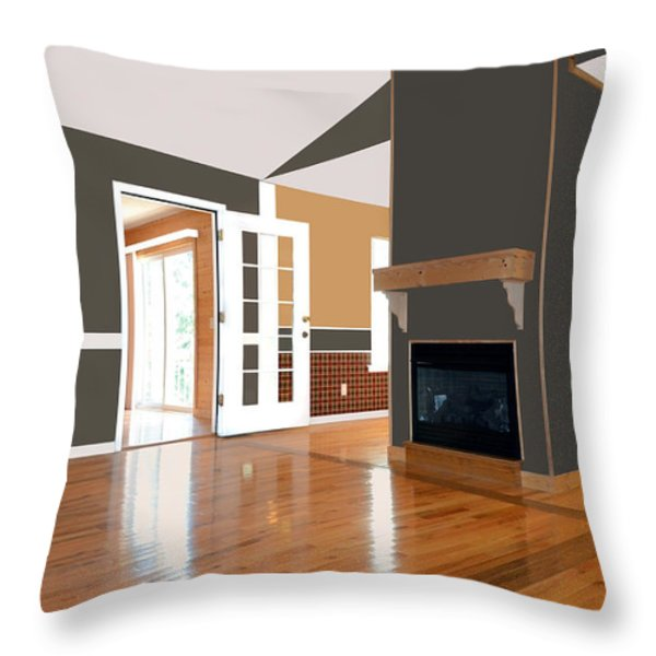 Room With Fireplace Throw Pillow by Susan Leggett