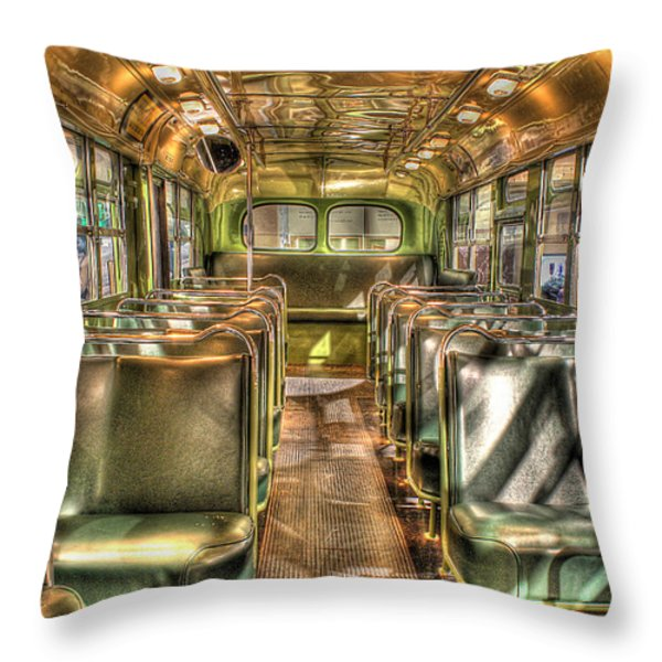 Rosa Parks Bus Inside Dearborn Mi Throw Pillow by Nicholas  Grunas
