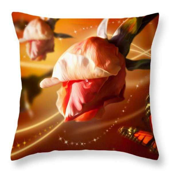 Rose and Butterfly Throw Pillow by Svetlana Sewell