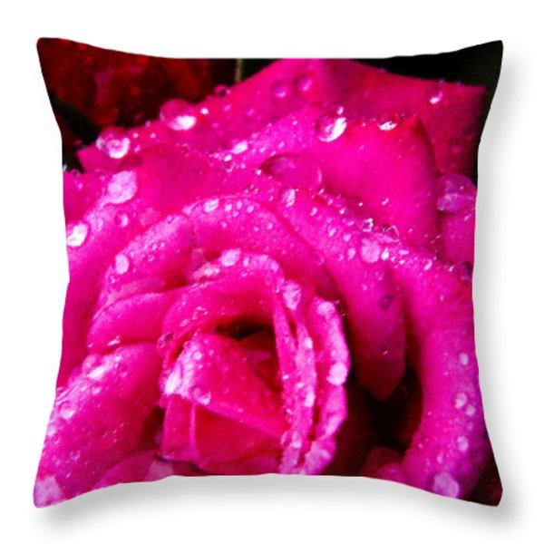 Rose In The Rain Throw Pillow by Thomas R Fletcher