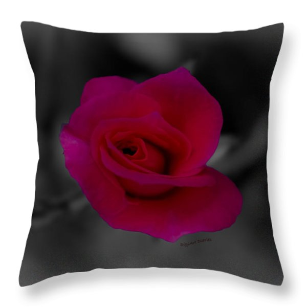 Rose of Solitude Throw Pillow by DigiArt Diaries by Vicky B Fuller