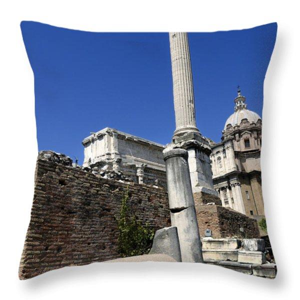 Rostra. Column of Phocas and Septimius Severus arch in the Roman Forum. Rome Throw Pillow by BERNARD JAUBERT