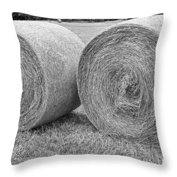 Round Hay Bales Black and White  Throw Pillow by James BO  Insogna