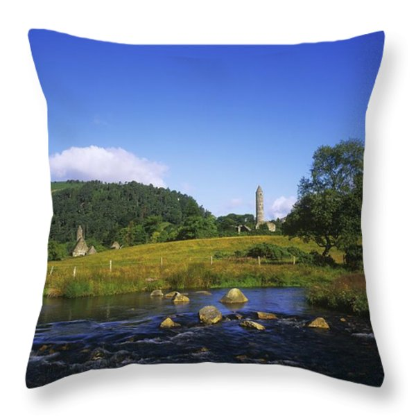 Round Tower And River In The Forest Throw Pillow by The Irish Image Collection
