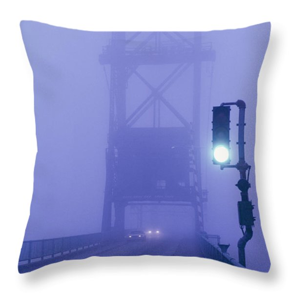 Route 1 Crosses This Drawbridge Throw Pillow by Bruce Dale