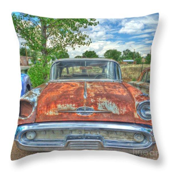 Route 66 Oldsmobile Throw Pillow by John Kelly