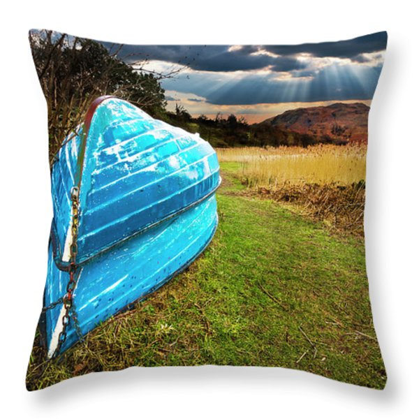 row boats in waiting Throw Pillow by Meirion Matthias