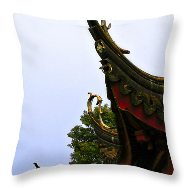 Row of Chinese Rooftops Throw Pillow by Christine Till