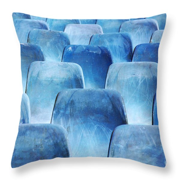 Rows of blue chairs Throw Pillow by Carlos Caetano