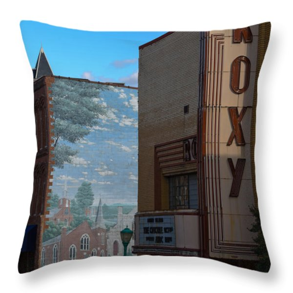 Roxy Theater and Mural Throw Pillow by ED GLEICHMAN