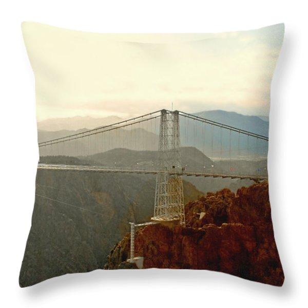 Royal Gorge Bridge Colorado - Take a walk across the sky Throw Pillow by Christine Till