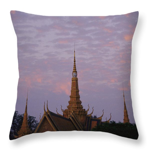 Royal Palace Rooftop At Dawn, Phnom Throw Pillow by Steve Raymer